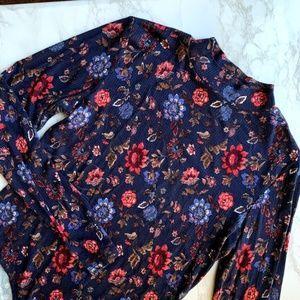 Forever 21 Funnel Neck Floral Bodysuit Size Large